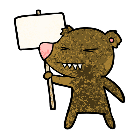 Hand drawn angry bear cartoon protesting Illustration
