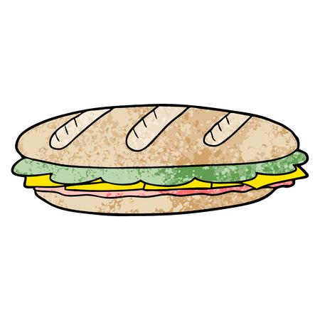 白い背景に漫画のバゲットサンドイッチ。