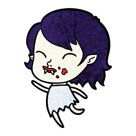 Hand drawn cartoon vampire girl with blood on cheek Banco de Imagens - 95856082