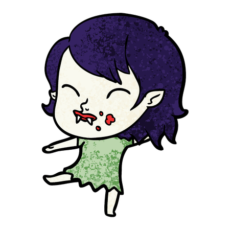 Hand drawn cartoon vampire girl with blood on cheek