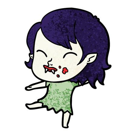 Hand drawn cartoon vampire girl with blood on cheek Stok Fotoğraf - 95856086
