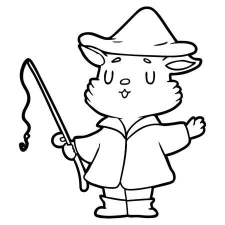 Cartoon cat fisherman on white background. Illustration