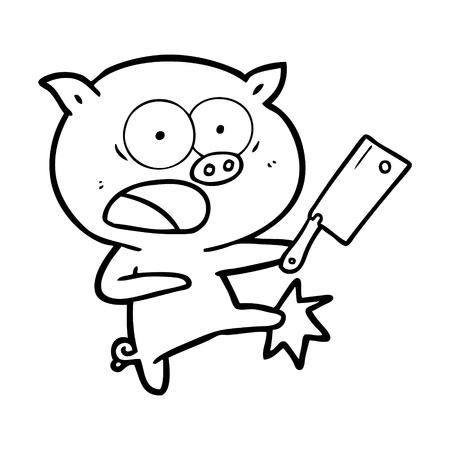 Hand drawn cartoon pig shouting and kicking