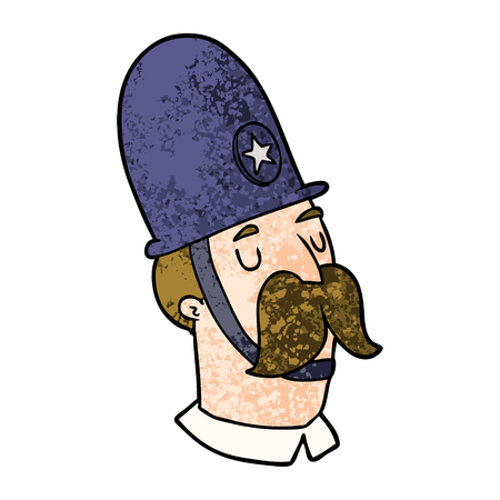 Cartoon policeman with mustache on white background.