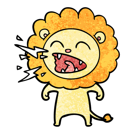 Hand drawn cartoon roaring lion Banque d'images - 95856190
