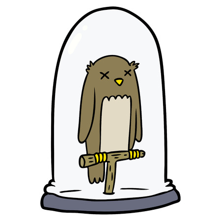 Cartoon stuffed owl on white background.