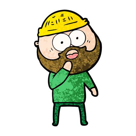 Hand drawn shocked bearded man Ilustração