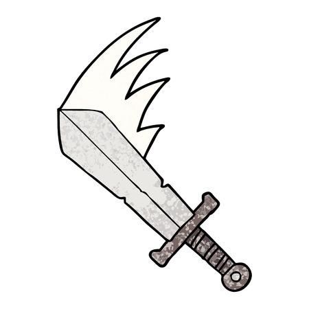 Cartoon swinging sword on white background.