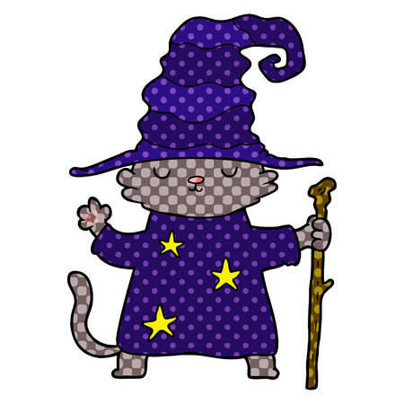 Hand drawn cartoon cat wizard Çizim