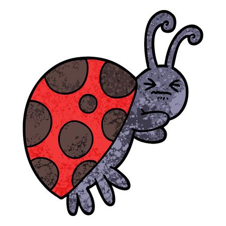 Cartoon ladybug on white background.