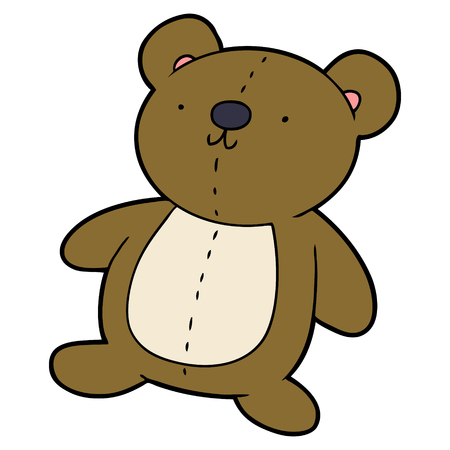 Cartoon stuffed toy bear on white background.