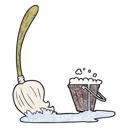 Hand drawn cartoon mop and bucket Stock Illustratie