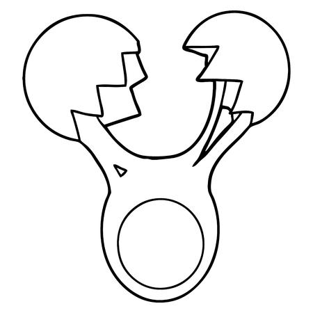 Hand drawn cracked egg cartoon
