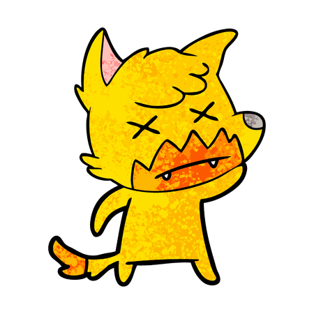 Hand drawn dead fox cartoon character