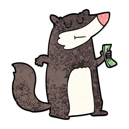 Hand drawn cartoon badger holding cash