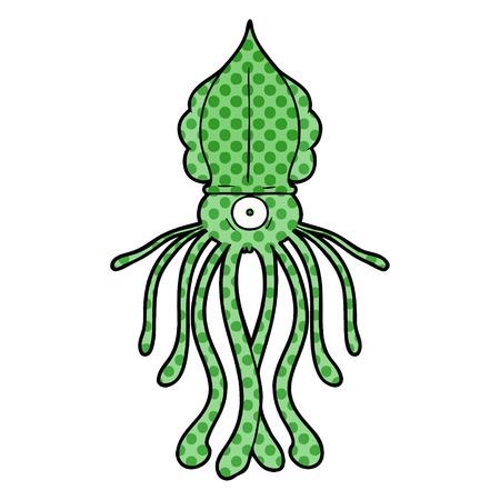 Cartoon squid on white background.