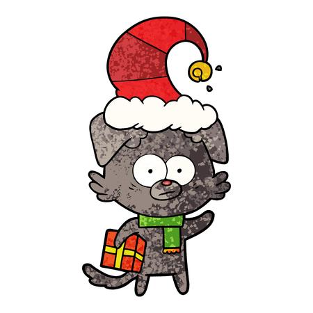 Nervous dog cartoon with gift Illustration