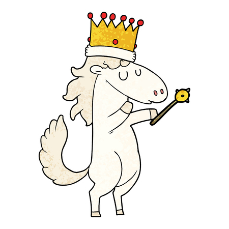 Cartoon horse wearing crown and holding wand. Ilustração