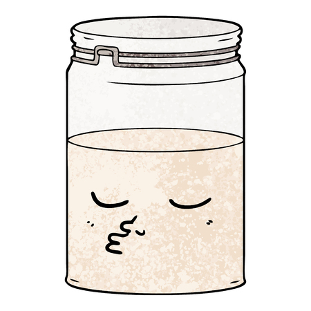 Cartoon glass jar with facial feature.