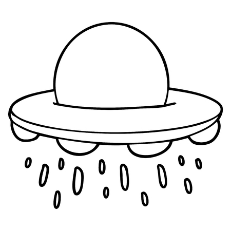 Cartoon flying saucer on white background. Illustration