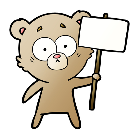 Hand drawn bear cartoon character with protest sign Ilustração