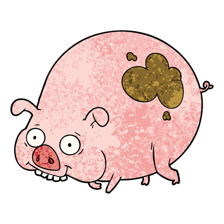 Cartoon muddy pig on white background. Çizim