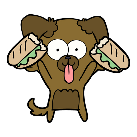 Cartoon dog with tongue sticking out and sandwich.