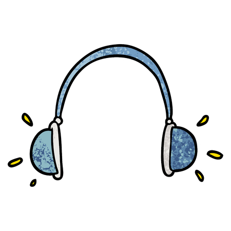 Hand drawn cartoon headphones Illustration