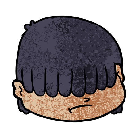 Hand drawn cartoon face with hair over eyes Banco de Imagens - 95856980