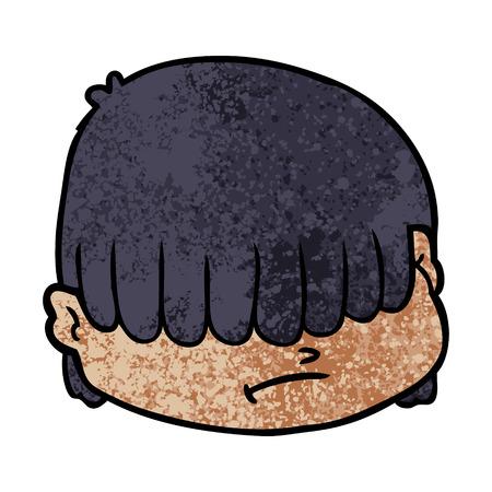 Hand drawn cartoon face with hair over eyes
