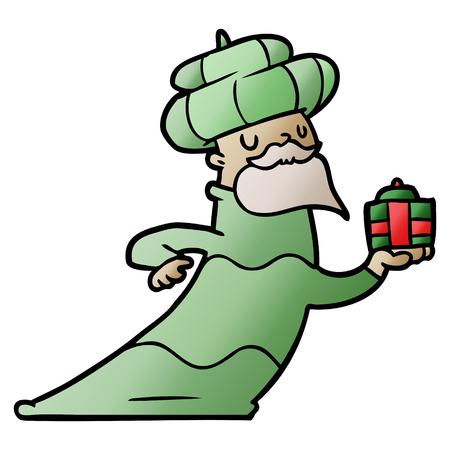 One of three wise men cartoon on white background.