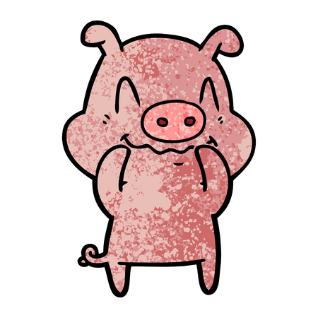 Hand drawn nervous cartoon pig Illustration