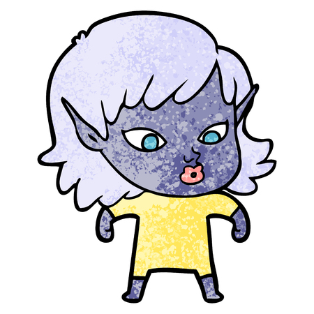 Hand drawn pretty cartoon elf girl