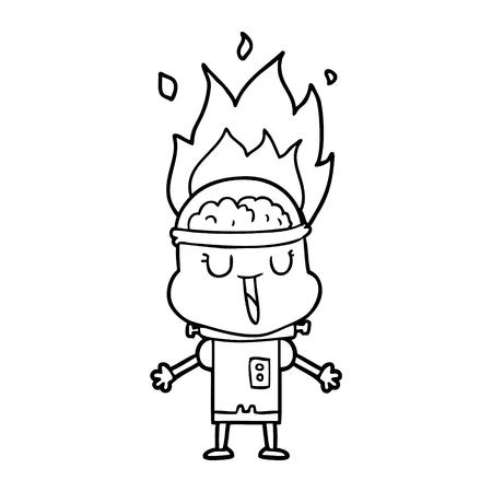 Hand drawn happy cartoon malfunctioning robot Illustration