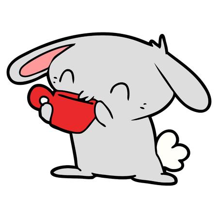 Cartoon rabbit drinking tea