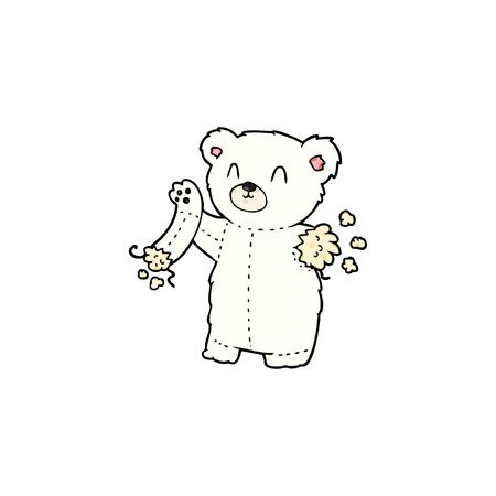 Hand drawn cartoon polar bear teddy with torn arm 스톡 콘텐츠 - 95857395