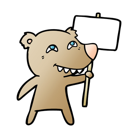 Hand drawn bear cartoon character with protest sign Banco de Imagens - 95857498