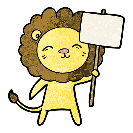 cartoon lion with protest sign Stock Vector - 95858147