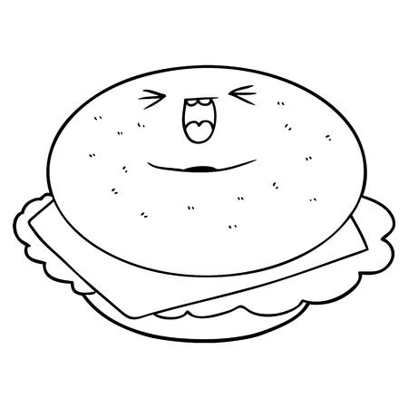 Hand drawn cartoon bagel
