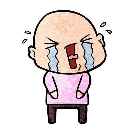 Hand drawn cartoon crying bald man