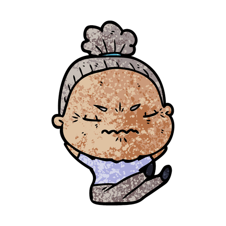 Hand drawn cartoon annoyed old lady