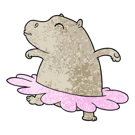 Cartoon hippo ballerina Illustration