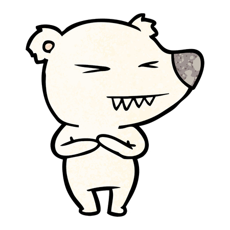 Hand drawn angry polar bear cartoon