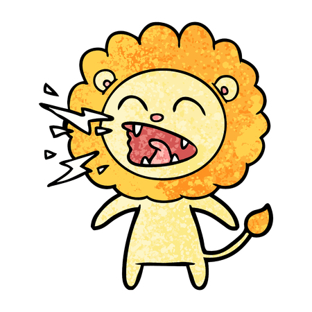 Hand drawn cartoon roaring lion