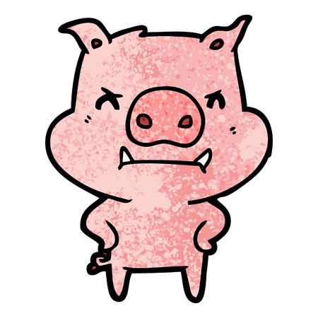 Hand drawn angry cartoon pig Ilustração