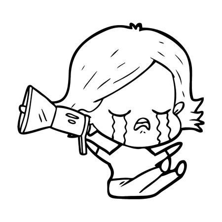 Hand drawn cartoon girl crying loudhailer