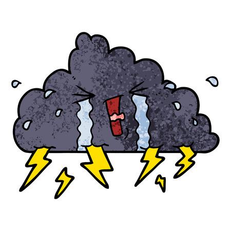 Hand drawn cartoon thundercloud Stock Illustratie