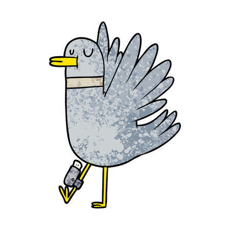 Hand drawn cartoon flapping wood pigeon