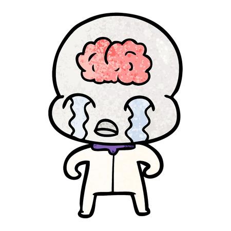 手描き漫画大脳エイリアン泣き  イラスト・ベクター素材