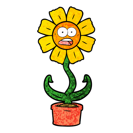 cartoon shocked flower Stock Illustratie